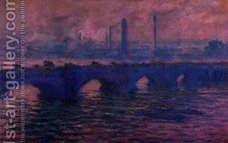 Waterloo Bridge, Overcast Weather I by Claude Oscar Monet - Reproduction Oil Painting
