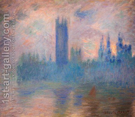 Houses of Parliament, London, Symphony in Rose by Claude Oscar Monet - Reproduction Oil Painting