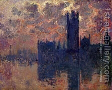 Houses of Parliament, Sunset (detail) by Claude Oscar Monet - Reproduction Oil Painting