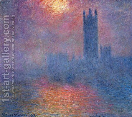 Houses of Parliament, Effect of Sunlight in the Fog I by Claude Oscar Monet - Reproduction Oil Painting