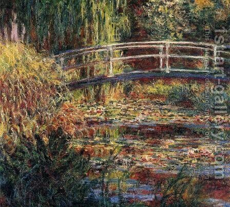 Water-Lily Pond, Symphony in Rose by Claude Oscar Monet - Reproduction Oil Painting