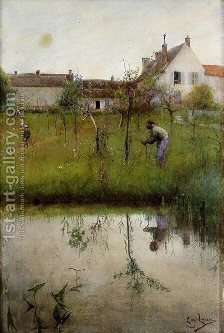 The Old Man and the New Trees by Carl Larsson - Reproduction Oil Painting