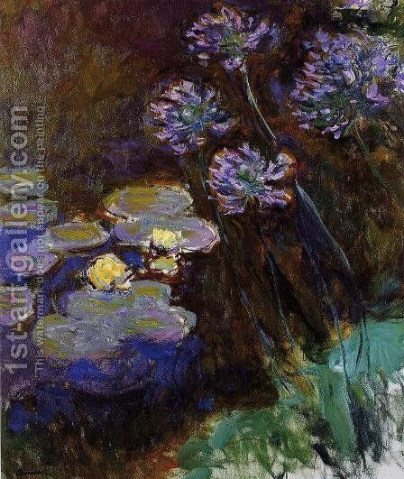 Water-Lilies and Agapanthus by Claude Oscar Monet - Reproduction Oil Painting