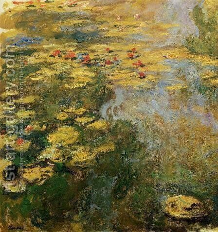The Water-Lily Pond (left side) by Claude Oscar Monet - Reproduction Oil Painting