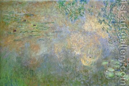 Water-Lily Pond with Irises (left half) by Claude Oscar Monet - Reproduction Oil Painting