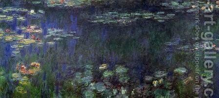 Green Reflection (left half) by Claude Oscar Monet - Reproduction Oil Painting