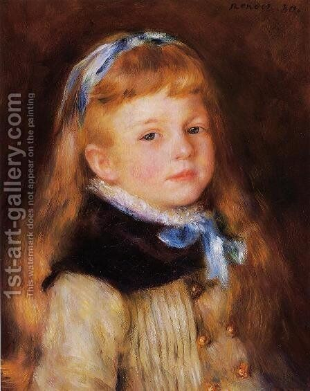 Mademoiselle Grimprel in a Blue Ribbon by Pierre Auguste Renoir - Reproduction Oil Painting