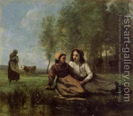 Two Cowherds in a Meadow by the Water by Jean-Baptiste-Camille Corot - Reproduction Oil Painting