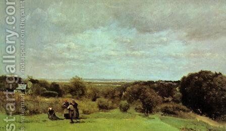 The Grape Harvest at Sevres by Jean-Baptiste-Camille Corot - Reproduction Oil Painting