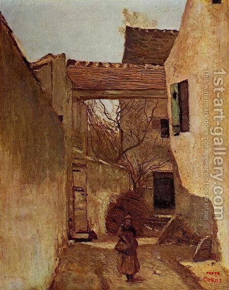 Village Corner, Ecouen by Jean-Baptiste-Camille Corot - Reproduction Oil Painting