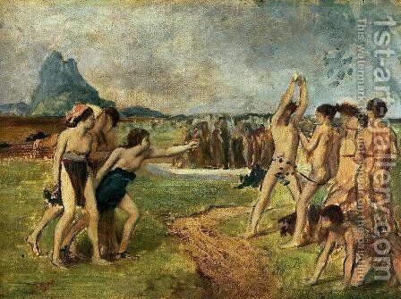 Young Spartans Exercising by Edgar Degas - Reproduction Oil Painting