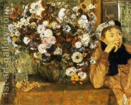 A Woman Seated beside a Vase of Flowers by Edgar Degas - Reproduction Oil Painting