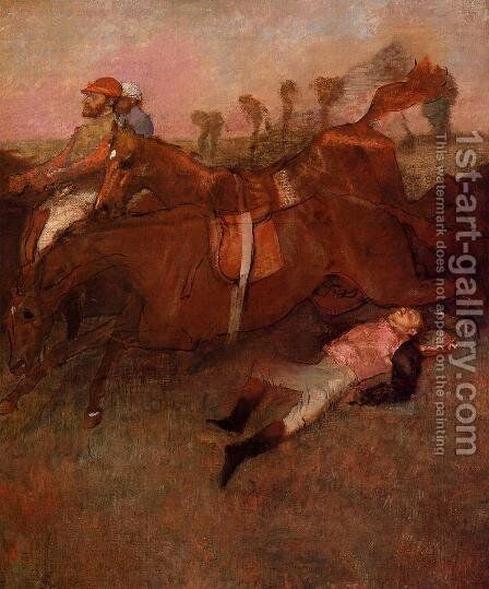 Scene from the Steeplechase: the Fallen Jockey by Edgar Degas - Reproduction Oil Painting