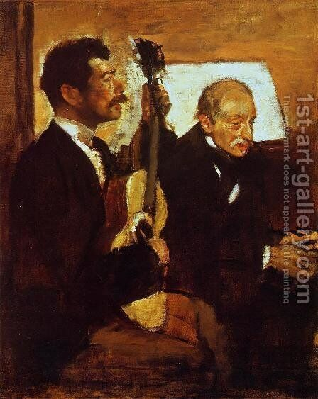 Degas' Father Listening to Lorenzo Pagans by Edgar Degas - Reproduction Oil Painting
