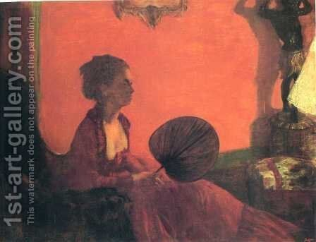 Madame Camus with a Fan by Edgar Degas - Reproduction Oil Painting