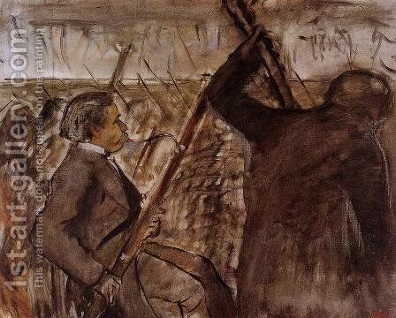 Musicians in the Orchestra by Edgar Degas - Reproduction Oil Painting