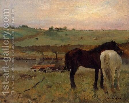 Horses in a Meadow by Edgar Degas - Reproduction Oil Painting