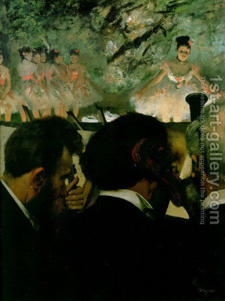 Musicians in the Orchestr by Edgar Degas - Reproduction Oil Painting
