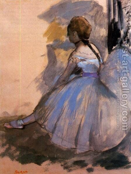 Dancer Seated (study) by Edgar Degas - Reproduction Oil Painting