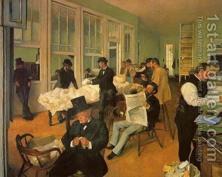 The Cotton Exchange in New Orleans by Edgar Degas - Reproduction Oil Painting