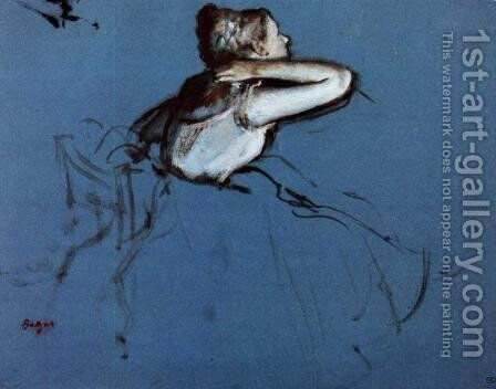 Seated Dancer in Profile by Edgar Degas - Reproduction Oil Painting