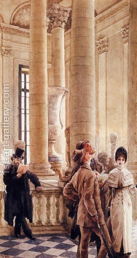 At the Louvre 2 by James Jacques Joseph Tissot - Reproduction Oil Painting