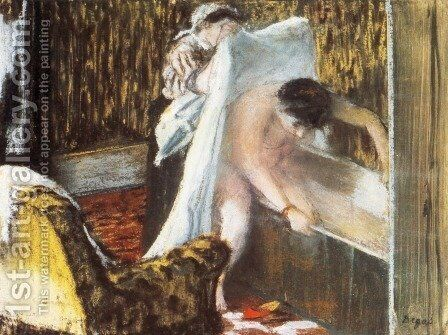 Woman Leaving Her Bath by Edgar Degas - Reproduction Oil Painting