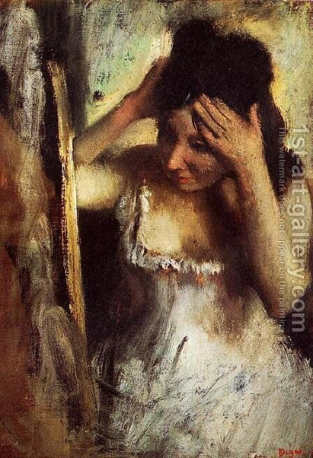 Woman Combing Her Hair before a Mirror by Edgar Degas - Reproduction Oil Painting
