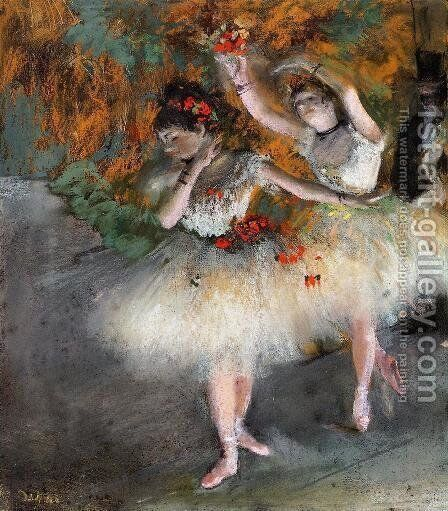 Two Dancers Entering the Stage by Edgar Degas - Reproduction Oil Painting