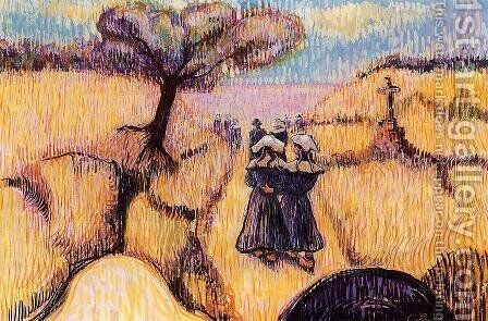 Landscape with Strolling Breton Women by Charles Laval - Reproduction Oil Painting