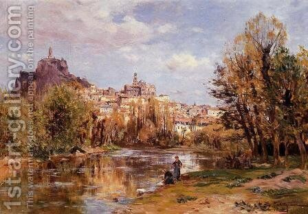 The Village of Puy en Valay by Edmond Marie Petitjean - Reproduction Oil Painting