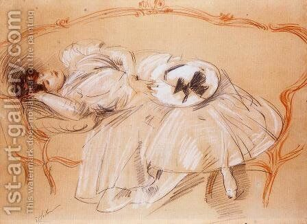 Young Woman on a Divan by Paul Cesar Helleu - Reproduction Oil Painting
