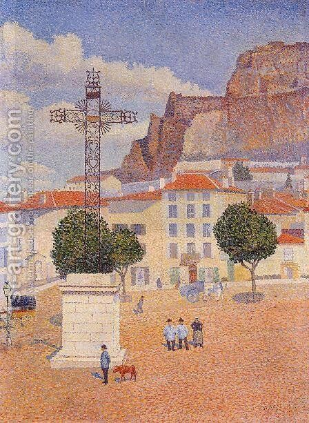 Le Puy: The Sunny Plaza by Albert Dubois-Pillet - Reproduction Oil Painting