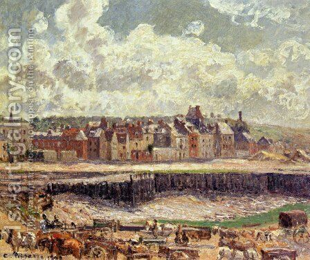 Dieppe, Dunquesne Basin, Sunlight Effect, Morning, Low Tide by Camille Pissarro - Reproduction Oil Painting