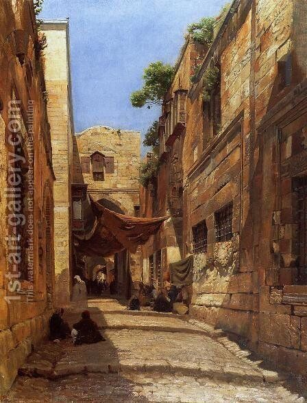 David Street in Jerusalem by Gustave Bauernfeind - Reproduction Oil Painting