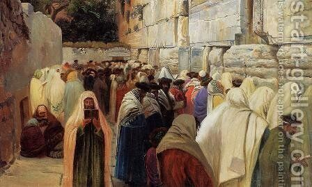 Jews at the Wailing Wall by Gustave Bauernfeind - Reproduction Oil Painting
