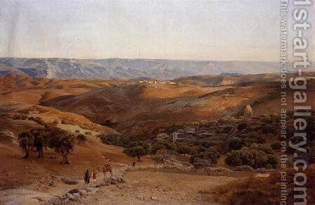 Mountains of Moab Seen from Bethany by Gustave Bauernfeind - Reproduction Oil Painting
