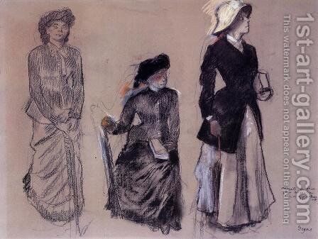 Project for Portraits in a Frieze - Three Women by Edgar Degas - Reproduction Oil Painting