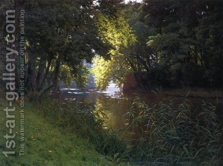 By the River by Henri Biva - Reproduction Oil Painting