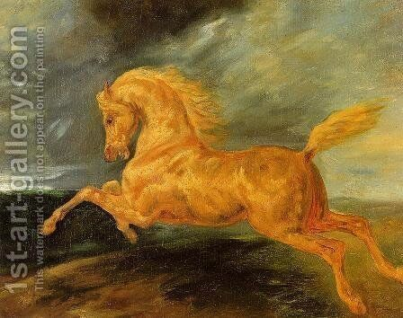 A Horse Frightened by Lightening by Theodore Gericault - Reproduction Oil Painting