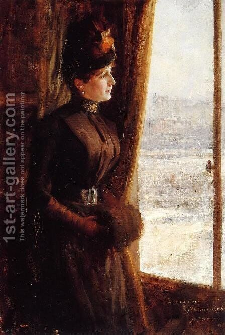 Portrait of Madame Vallery-Radot by Albert Edelfelt - Reproduction Oil Painting