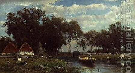 The Hay Bridge by Johan Hendrik Weissenbruch - Reproduction Oil Painting