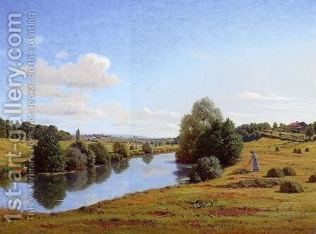 The Banks of the Saone near Chatillon by Jean Ferdinand Monchablon - Reproduction Oil Painting