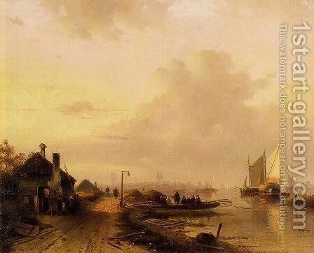 The Ferry by Charles Henri Leickert - Reproduction Oil Painting