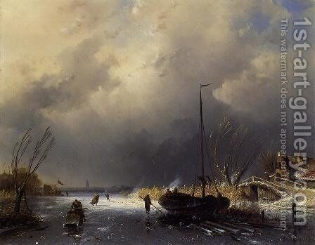 A Winter Landscape with Skaters by Charles Henri Leickert - Reproduction Oil Painting