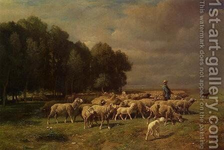 The Large Flock by Charles Émile Jacque - Reproduction Oil Painting