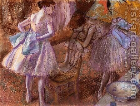 Two Dancers in Their Dressing Room by Edgar Degas - Reproduction Oil Painting