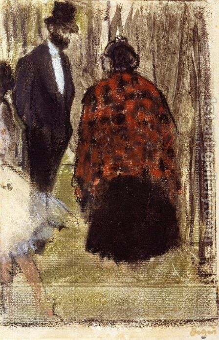 Ludovic Halevy Speaking with Madame Cardinal by Edgar Degas - Reproduction Oil Painting