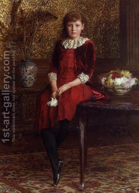 Mabel, Daughter of Charles Galloway by Edward John Gregory - Reproduction Oil Painting