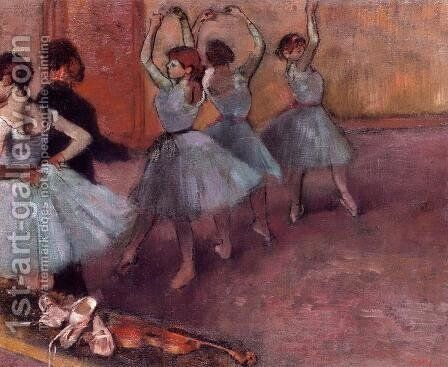 Dancers in Light Blue by Edgar Degas - Reproduction Oil Painting